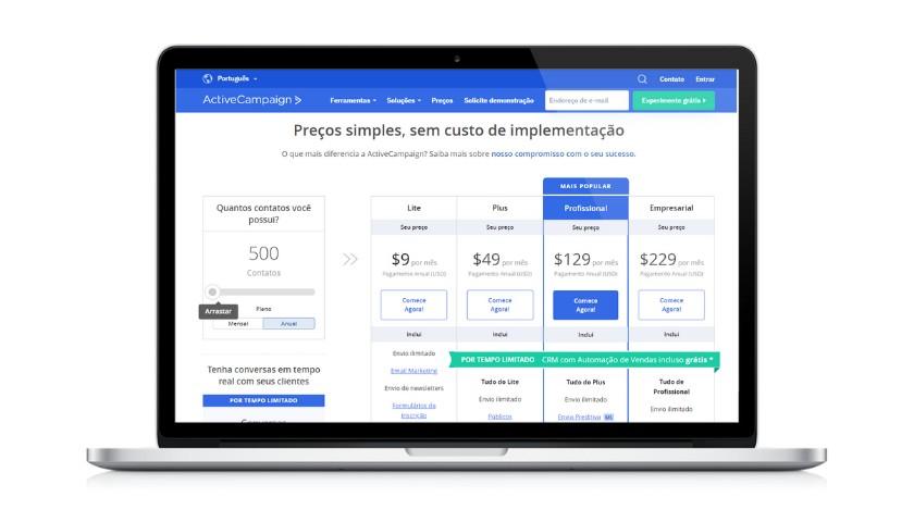 Planos de preços do ActiveCampaign - joaobotas.pt