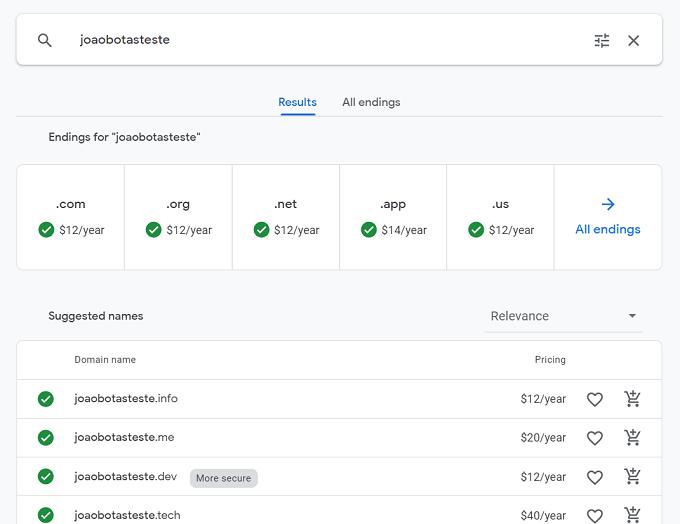 carrinho de compra google domains