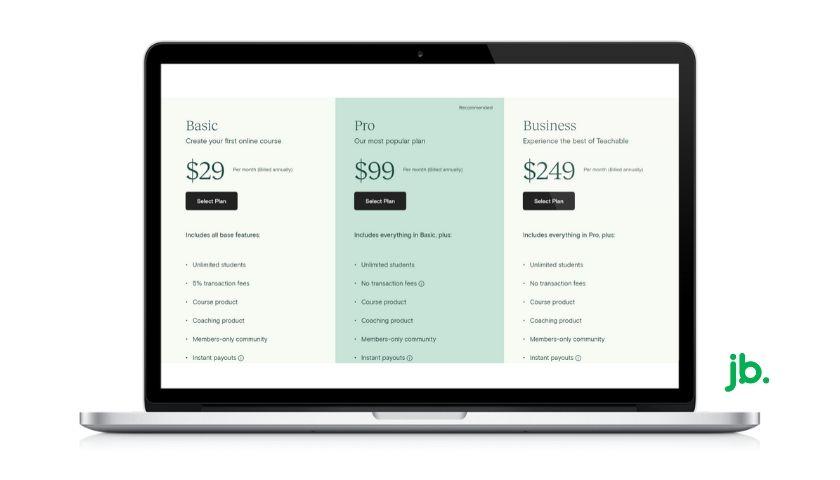 planos de preços do teachable - joaobotas.pt