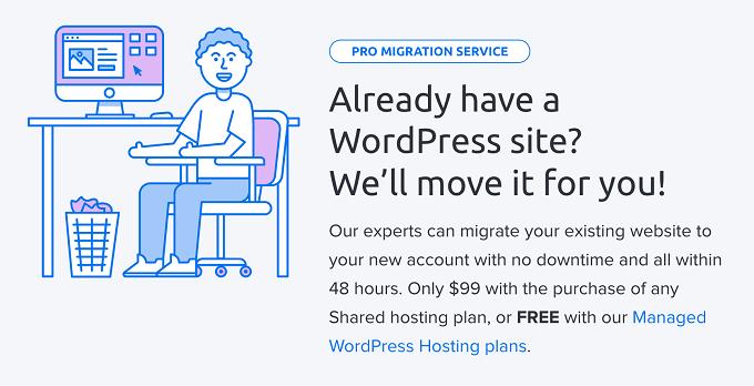 serviço de migração site do dreamhost