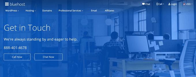 suporte cliente Bluehost