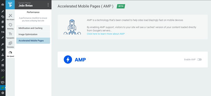Accelerated Mobile Pages AMP - thrive theme builder