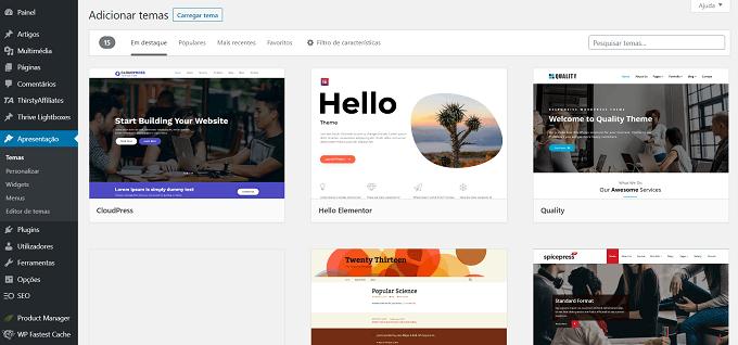 Escolha um tema WordPress para o seu blog