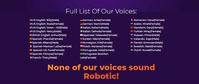 vozes e idiomas do Speechelo