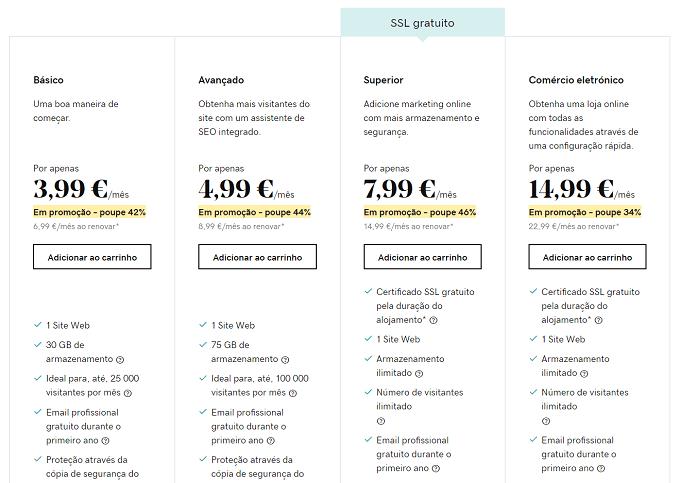 preços alojamento wordpress godaddy
