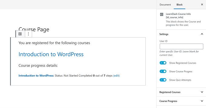 conteúdo dos blocos LearnDash