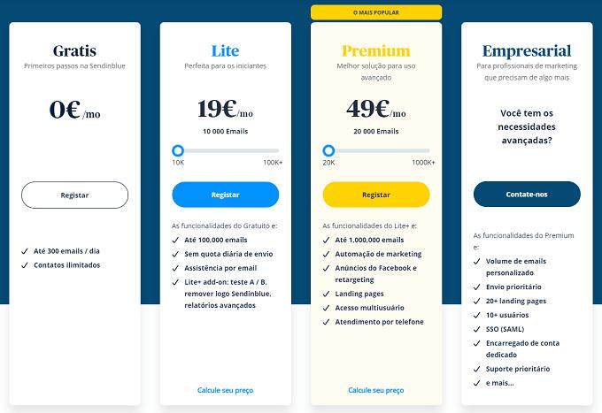 planos preços sendinblue