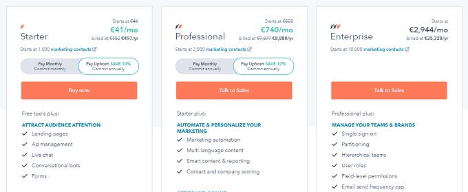 preços do hubspot marketing