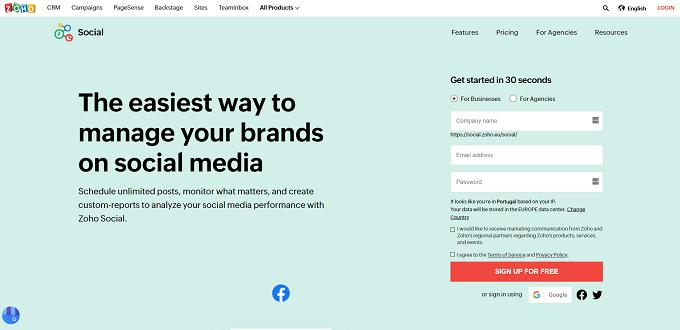 site do zoho social
