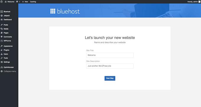 lançar website wordpress na bluehost